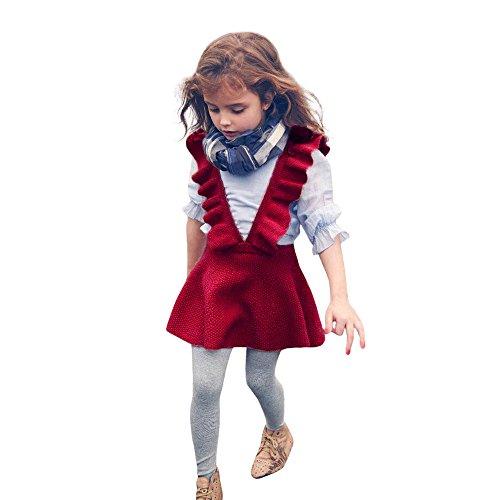 Kinderkleid Honestyi Herbst Kleinkind Mädchen Kinder Baby Stricken Pullover Solid ärmellosen Rüschen Kleid Kleidung (Rot,8)
