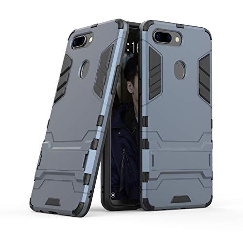 Xinanlongjb Für Oppo R15 Pro (Oppo R15 Dream Mirror Edition) mit Fallschutzhalterung Classic 2 in 1 Armor Series Coole Handyhalterungsfunktion Hartschalen-Hülle (Farbe : Navy Blue)