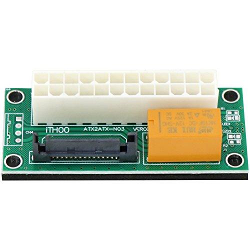 com-four® Dual Power Netzteil Adapter ATX 24 PIN zu SATA 15 PIN für die Synchronisierung von Netzteilen (01 Stück - Adapter ATX zu SATA) - Extension Supply Power 12v