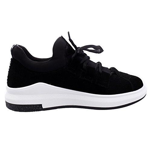 Shenn Femmes Occasionnels Wedges Chaussures de lacet sport confortables ont en daim Baskets mode Noir