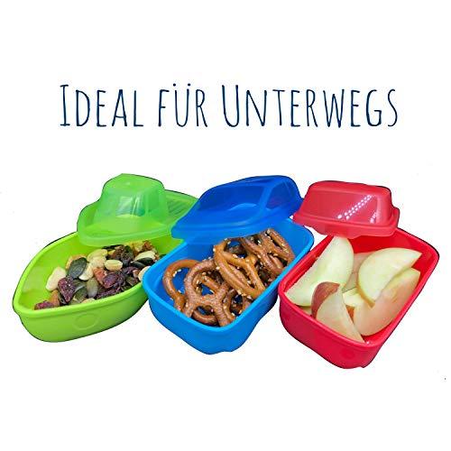 BABY-NOVA® PREMIUM Snackbox - 3 SNACK DOSEN - verschließbarer Deckel - praktisch to go im Rucksack oder Kindergarten