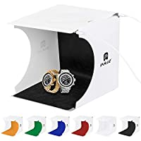 Photography Studio Kit Portable - Light Box for Photography - Foldable Mini Photo Studio Tent Jewelry Light Box Kit Small Home Photography Studio with 2x20 LED Lights 6 Colors Backdrops