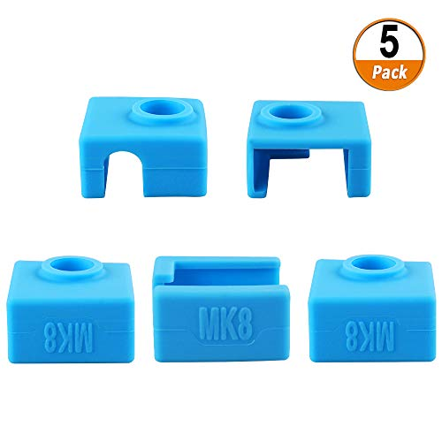 5 Stück 3D Drucker Silikon Socken, Heizblock Silikon Abdeckung für MK7 / MK8 / MK9, 3D Drucker Teile und Zubehör Silikonhülle Abdeckung,Blau