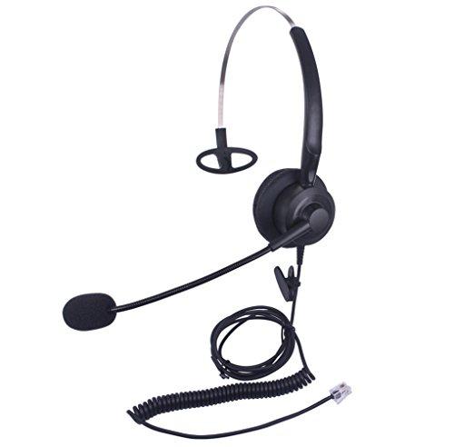 Xintronics Casque Téléphone Fixe RJ9 Mono avec Micro Anti-bruit, Écouteurs de Centre d'appel pour Avaya Mitel Polycom Plantronics Nortel Norstar Meridian Gigaset (X10A2)