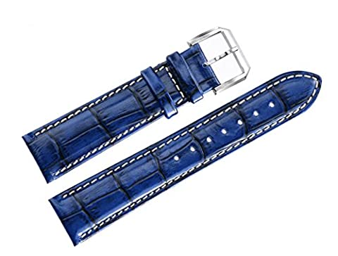 20mm Blue Luxury Watch Bands in Genuine Cowhide Leather with Padding Crocodile Grain White Contrast Stitching