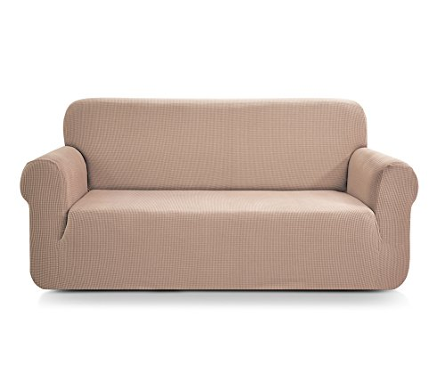 Chun Yi Jacquard-Sofabezug, 1-teilig, dehnbar, sand, 2-Sitzer