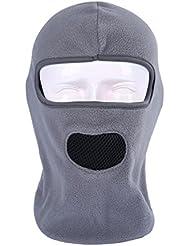 ecyc al aire libre Esquí Máscara con capucha y forro polar pasamontañas viento Tapón completo cara boca máscara transpirable cuello calentador, mujer hombre, A03:Gray
