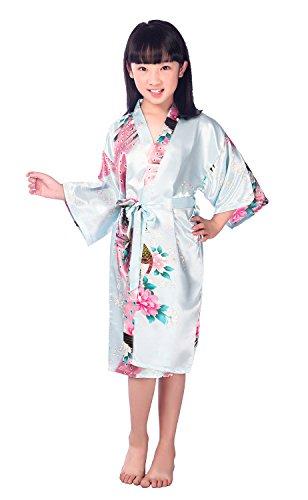 Kimono Japonais Imprimé Peignoir Long Robe de Chambre Enfant Fille(Azur, 12)