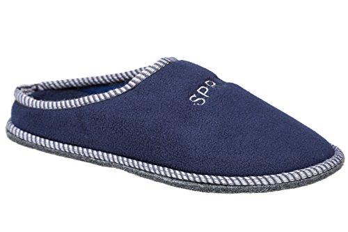 GIBRA® Herren Pantoffeln mit Filzsohle und Noppen, sehr leicht, dunkelblau, Gr. 40-46 Dunkelblau