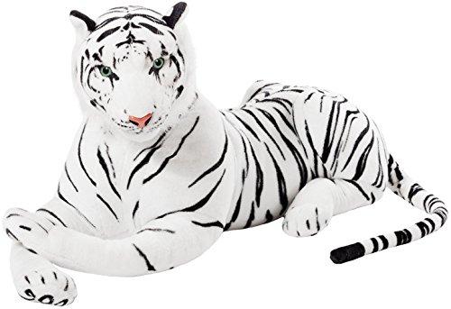 BRUBAKER Tiger weiß 110 cm Stofftier Plüschtier (Stofftier Weißer Tiger)