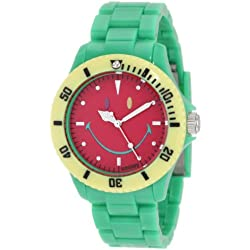 "The Original Iconic Smiley ""Happy Time"" Watch - Colour Block Collection - Green Polycarbonate Strap with Red Face"