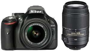 Nikon D5200 SLR-Digitalkamera (24,1 Megapixel, 7,6 cm (3 Zoll) TFT-Display, Full HD, HDMI) Double Zoom Kit inkl. 18-55 VR II und 55-300 VR Objektiv schwarz