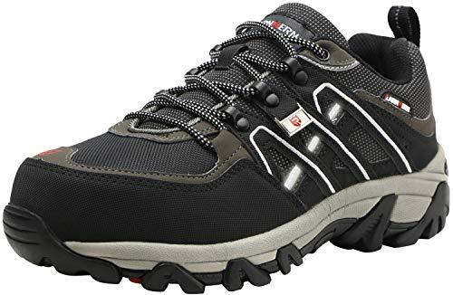 Zapatos de Seguridad para Hombre, Puntas de Acero Antideslizantes SRC Anti-Piercing Zapatos de Trabajo (49 EU, Negro)