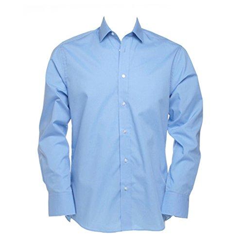 Kustom Kit Tailored Mens Colours Long Sleeved Formal Business Work Shirt Light Blue