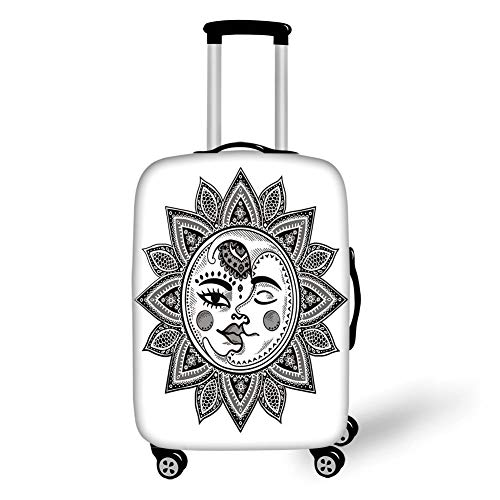 Travel Luggage Cover Suitcase Protector,Sun and Moon,Mandala Inspired Bohemian Tattoo Style Eclipse Figure Ancient Folkloric Decorative,Black and White,for Travels 19x27.5Inch