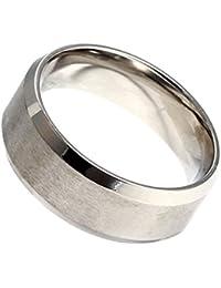 Anillo anillo Hombre Acero Plata – regalo o boda – anchura 8 mm en acero inoxidable
