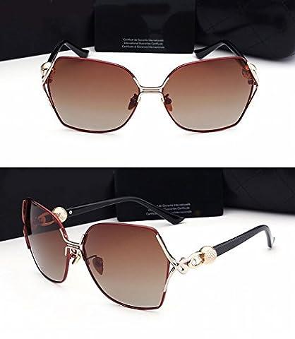 Ladies Large Frame Sunglasses White Elegant Round Face Frog Mirror Diamond Polished Light Mirror Brown