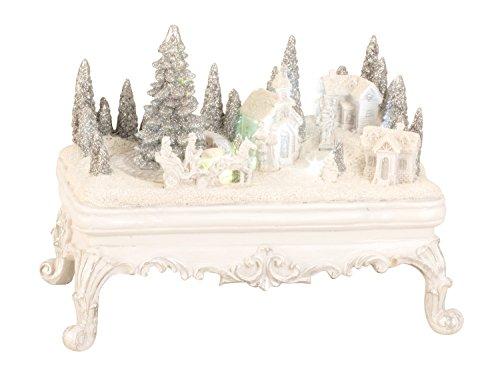 Paesaggio invernale moderno su un tavolo con LED e movimento di ceramica in altezza bianca 16 cm