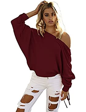 AHOOME Mujer Jerséis Moda Suéter Largo Casual Jersey Prendas de Punto de Cuello Barco Batwing Mangas Largas Camiseta...