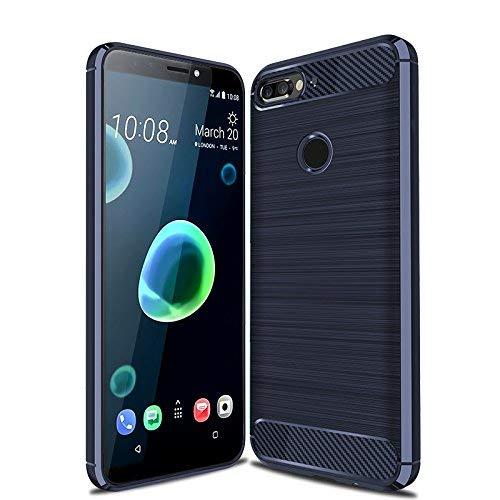 CruzerLite HTC Desire 12 Plus hülle, HTC Desire 12+ hülle, Carbon Fiber Shock Absorption Slim TPU Cover Schutzhülle für HTC Desire 12 Plus/Desire 12+ (Blue)