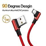 i-Tronixs (Rouge) 3 Mètres, Angle Droit 90 degrés [Forme en L] Câble de Charge tressé en Tissu Câble de synchronisation de données USB Powerline for Yezz Andy 4EL2 LTE