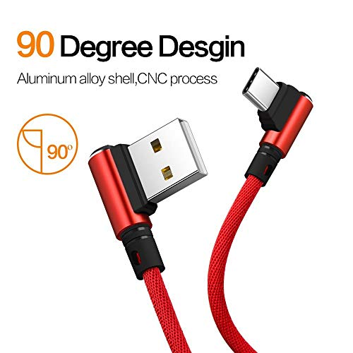i-Tronixs 3 Meters Long (Red) 3 Meters USB Type C 90 Degree Braided Cable for HiSense U30 U30 Usb