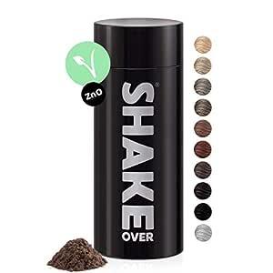shake over© Veganes Streuhaar zur Haarverdichtung, mit Zink angereicherte Fasern, hochwertiges Schütthaar, Made in Europe (30 g, LIGHT BROWN)