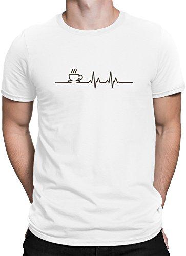 vanVerden Herren T-Shirt Kaffee EKG Lebenlinie Coffee Lifeline Cafe Motiv Shirt, Größe:L, Farbe:Weiß/Braun