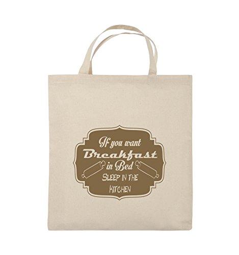 Comedy Bags - If you want Breakfast in Bed - KITCHEN - Jutebeutel - kurze Henkel - 38x42cm - Farbe: Schwarz / Silber Natural / Hellbraun