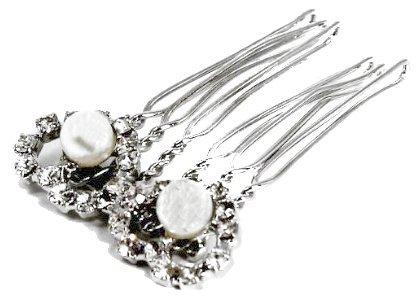 2 cm mit silberfarbener Haarkamm Kamm Haarschmuck Perlen Brautschmuck & Brautschmuck Strasssteine Design, schwarze Krawatte, Bällen