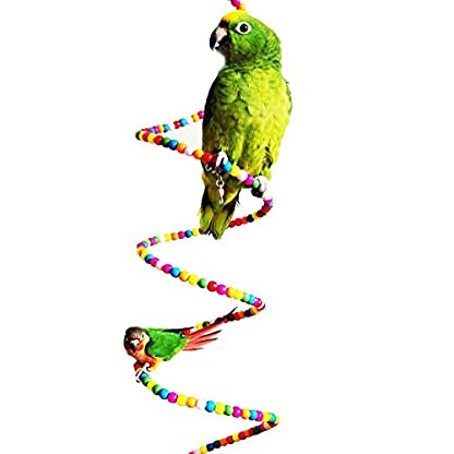 Keersi Colourful Rotate Ladder Toy for Bird Parrot Budgie Parakeet Cockatiel Conure Lovebird Finch Canary Cockatoo African Grey Amazon Cage Perch Stand 1