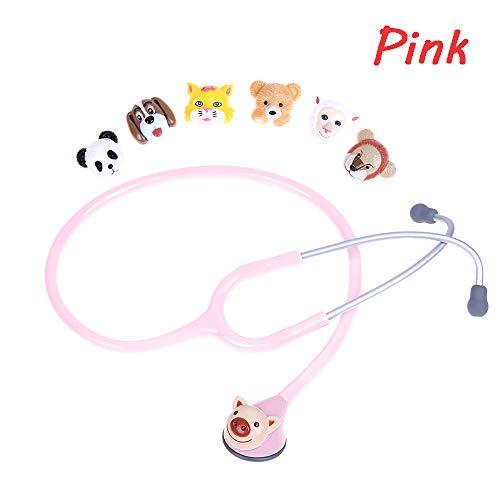 SUN RDPP Kinderhilfe Dual-Tierkopf Stethoskop, 7 Austauschbare Köpfe, Finger-Pulsoximeter, 5-Farben-Auswahl,Rosa