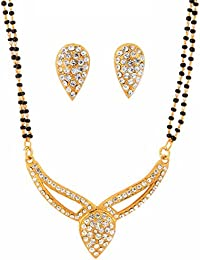 Touchstone Gold Plated Indian Rhinestones Studded Black Beads String Mangalsutra Set Designer Jewelry for Women