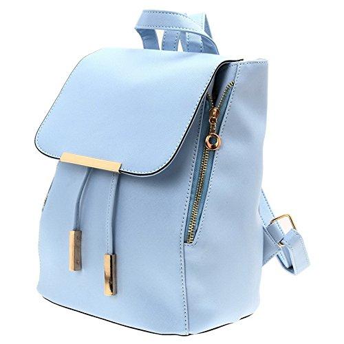 Mefly Nuove Donne Zaini Feminina Pelle Pu Colori Solidi Ragazze Scuola Di Sacchi,Blu Blue