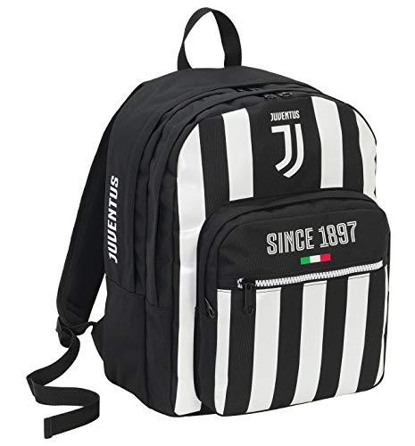 Seven zaino doppio scomparto juventus coaches, 41 cm, 34 lt, bianco & nero, scuola & tempo libero