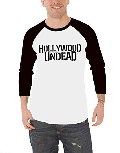 Hollywood Undead Baseball T Shirt Band Logo Nue Offiziell Herren Weiß 3/4 Sleeve (3 4 Sleeve Shirt-logo)
