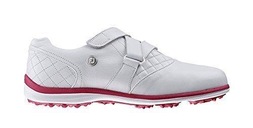Footjoy Damen Freizeit Collection Golfschuhe Ohne Stollen 97711 (Weite Passform) - Weiß/Pink, 6 UK (Wide Fit) (Footjoy Golf-stollen)