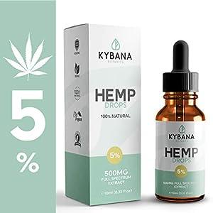 Kybana Botanics Hemp Oil Drops 5% (500mg) | Full Spectrum | 100% Natural | Made In UK | Help Relieve Stress, Pain, Anxiety | Anti-Inflammatory | Vegan and Vegetarian Friendly