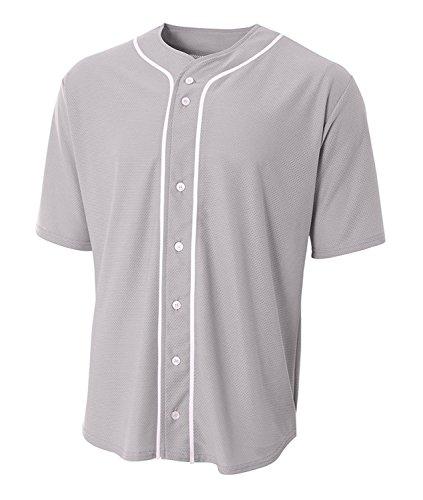 A4N4184Short Sleeve Full Button Baseball Jersey, Grau, Klein -