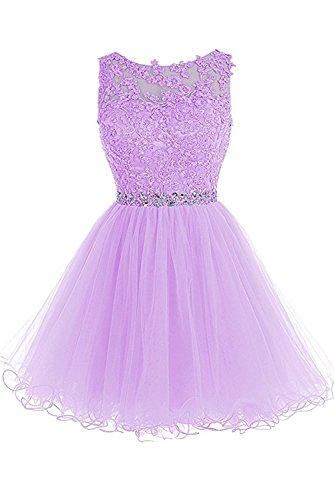 Gorgeous Bride Zärtlich Rundkragen A-Linie Spitze Tüll Mini Tanzkleider Partykleider 2017 Damen Abendkleider Kurz Cocktailkleider Ballkleider Lilac