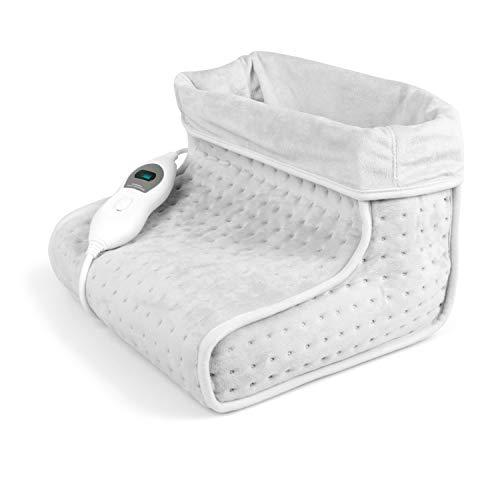 VIDABELLE VD-4619 Vidabelle Fußwärmer in hell grau, elektrischer Fußwärmer mit 3 Temperaturstufen, Wärmeschuh mit Abschaltautomatik, Füße aufwärmen, waschbar bei 30C