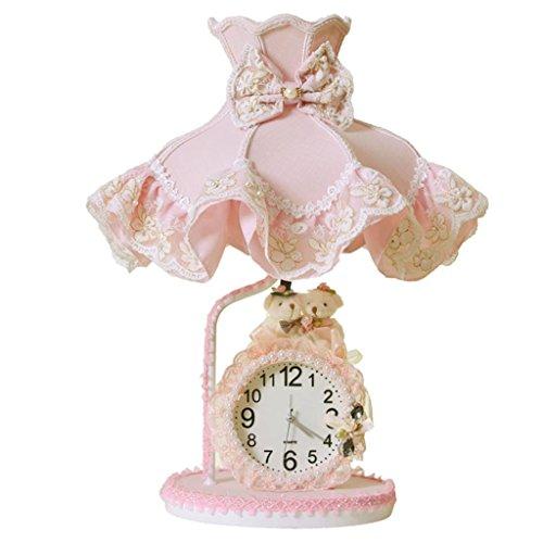 BOBE Shop- Mädchen Zimmer Nachttisch Lampe Kinderzimmer süße Spitze rosa Prinzessin Kleid kleine Tischlampe mit Uhr -