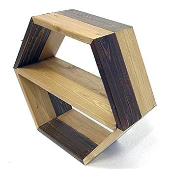 Sechseckiges Regal, Wandmontiertes Wabenregal, aus Tannen  Brettern 55 cm Durchmesser und 20 cm Tiefe  Upcycling-Design, Bücherregal, Regal.egal, Holzregal, Geometrisch, Kristall, Regal
