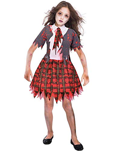 Elf Kostüm High - GIRLS ZOMBIE SCHOOL GIRL COSTUME - X-LARGE (11 - 12 YEARS)