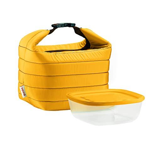 Guzzini set borsa termica con contenitore salvafreschezza on the go, ocra, borsa 22 x 18 x h22 cm, contenitore 19.6 x 19.6 x h7 cm, 1400 cc