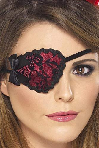 n Augenklappe mit Spitze, One Size, Rot und Schwarz, 20805 ()