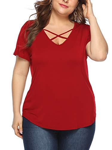 Beluring Frauen Kurzarm V-Ausschnitt T-Shirt Criss Cross Sommershirt Basic Oberteile Große Größen Rot 2XL