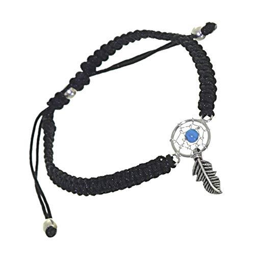 Joyería de plata de ley: pulsera ajustable de cordón negro con turquesa con detalle atrapasueños (B119a)