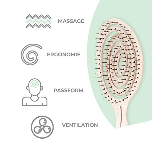 Ninabella®️ Bio Haarbürste ohne Ziepen, Profi Entwirrungsbürste, Einzigartige Detangler-Bürste mit Spiralfeder, Anti-Ziep-Haarbruch-Knoten-Spliss-Bürste - 3
