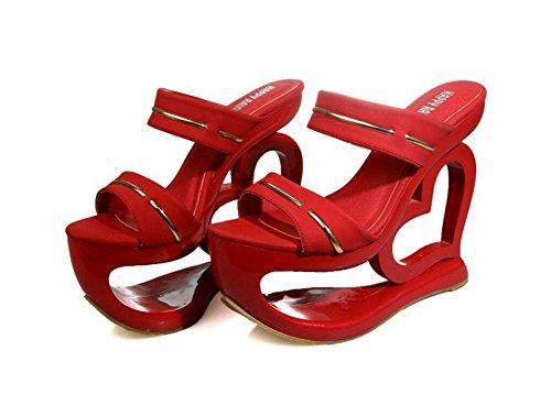 SHINIK Femmes Sandales Talons Ouverts Chaussure Talons Rouges Talons Hauts Pantoufles ImperméAbles L'Eau Chaussons Talon Rouge Noir Red